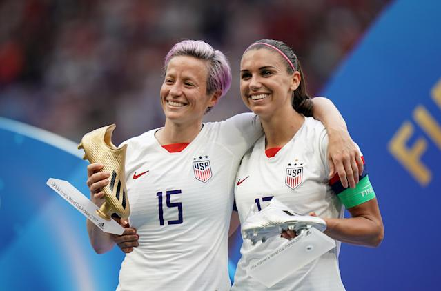 Megan Rapinoe and Alex Morgan with Gold and Silver Boot awards. (Getty Images)