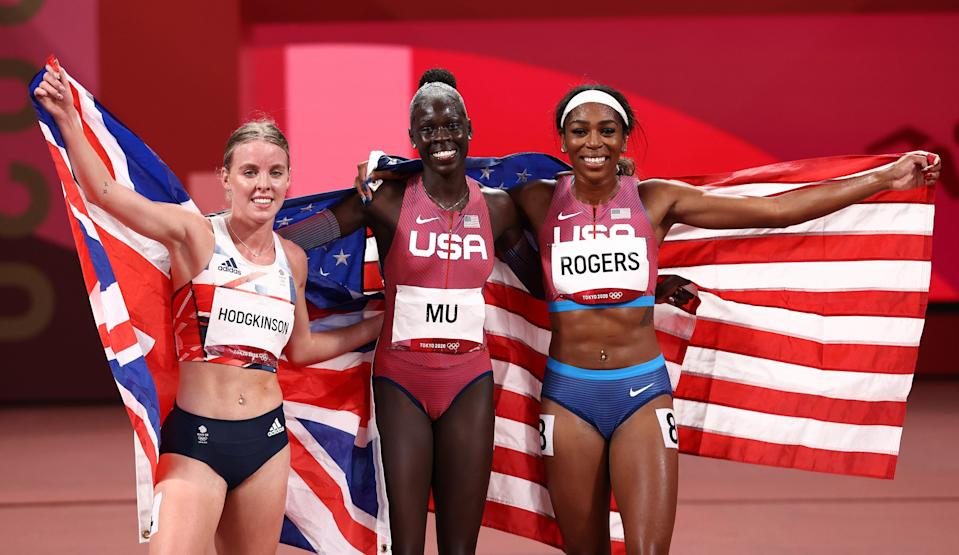 Silver medalist Keely Hodgkinson of Team Great Britain, gold medlaist Athing Mu of Team United States and bronze medalist Raevyn Rogers of Team United States (Getty)