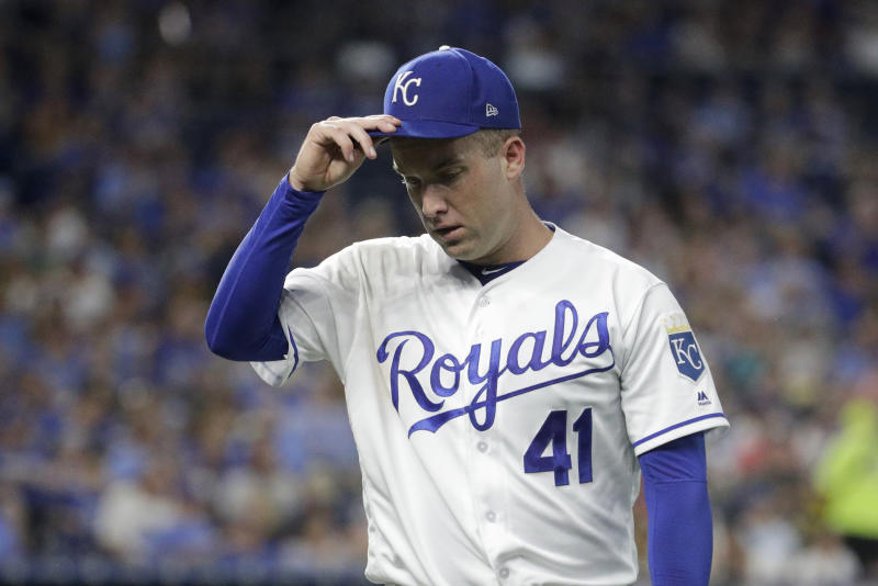 Kansas City Royals starting pitcher Danny Duffy leaves during the seventh inning of the team's baseball game against the Cleveland Indians on Wednesday, July 3, 2019, in Kansas City, Mo. (AP Photo/Charlie Riedel)