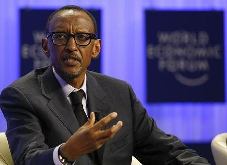Rwanda President Kagame attends a session at the annual meeting of the World Economic Forum (WEF) in Davos