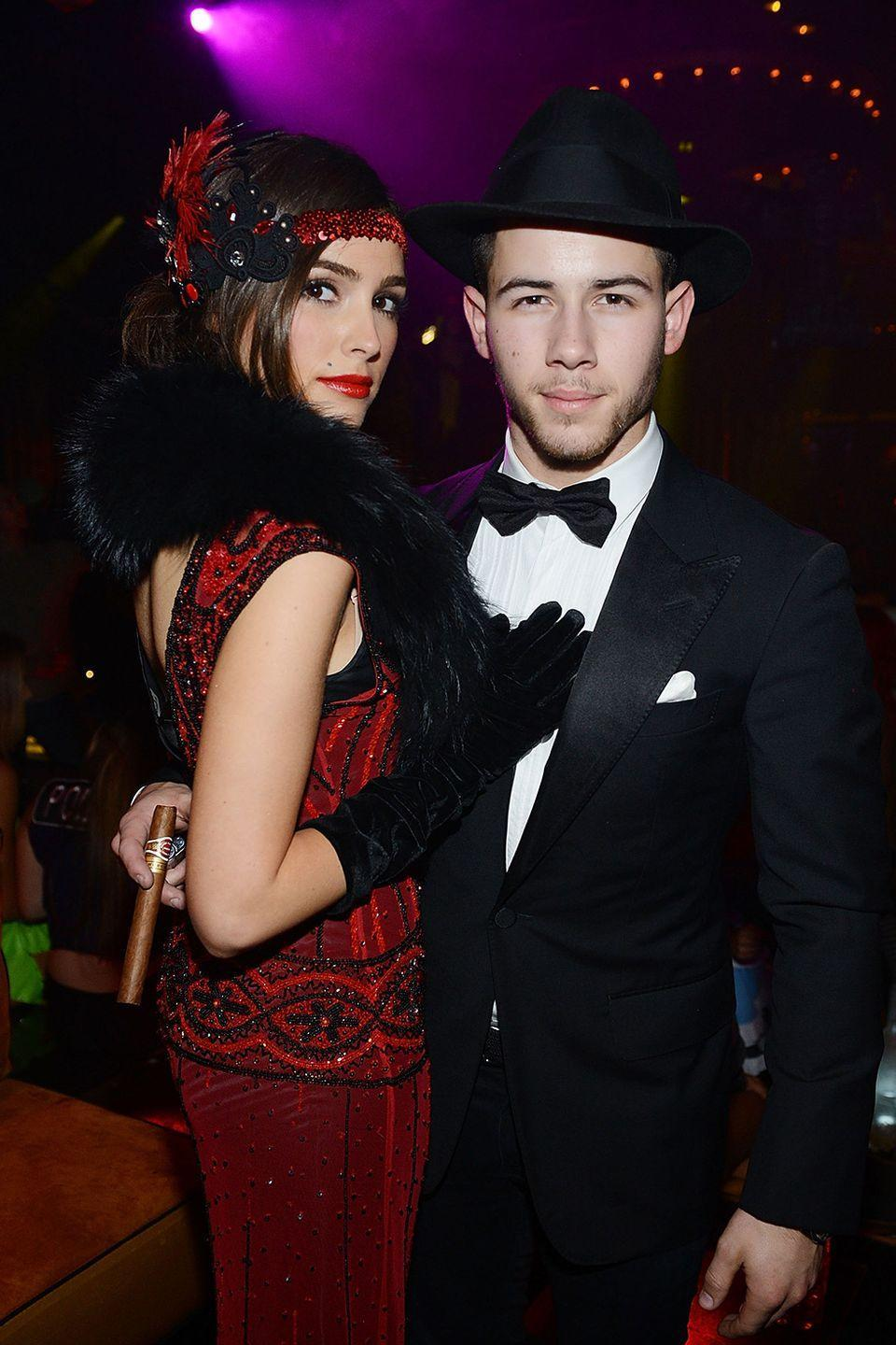 <p>In 2014, Olivia Culpo and Nick Jonas rocked their best 1920s flapper and mobster look for the Halloween costume party contest at the Mirage Hotel and Casino in Las Vegas, Nevada.</p>