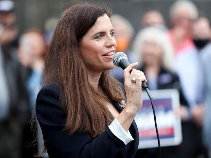 Republican Nancy Mace speaks to the crowd at an event with Sen. Lindsey Graham. (Getty Images)