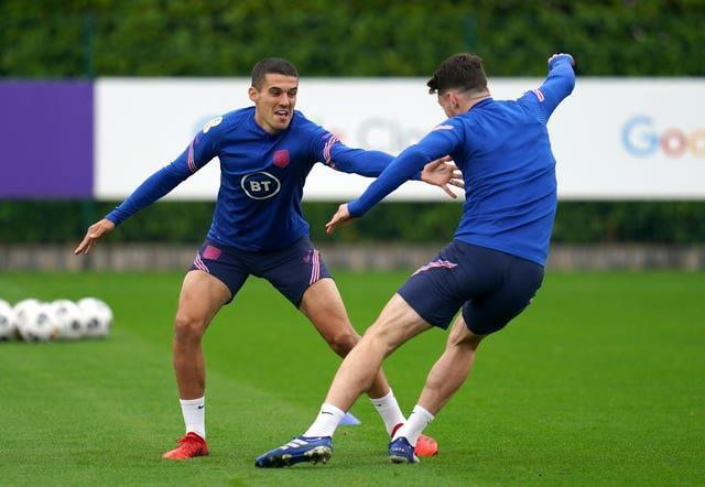 Conor Coady (left) is set to feature against Andorra