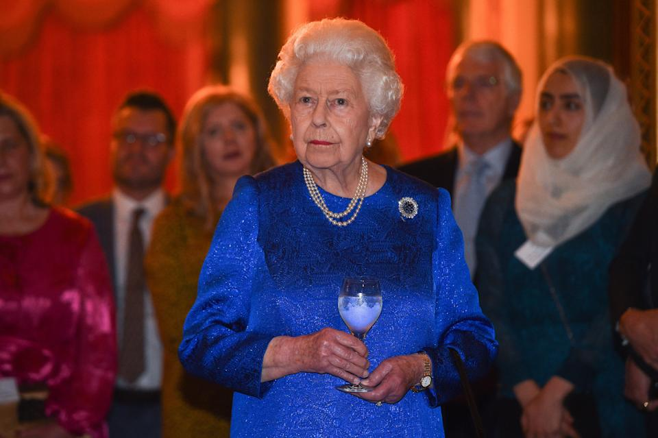 LONDON, ENGLAND - OCTOBER 29: Queen Elizabeth II attends a reception to celebrate the work of the Queen Elizabeth Diamond Jubilee Trust at Buckingham Palace on October 29, 2019 in London, England.  (Photo by Kirsty O'Connor - WPA Pool/Getty Images)