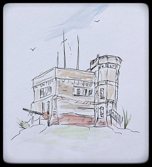 Noseworthy's sketch and watercolour painting of Cabot Tower in St. John's.