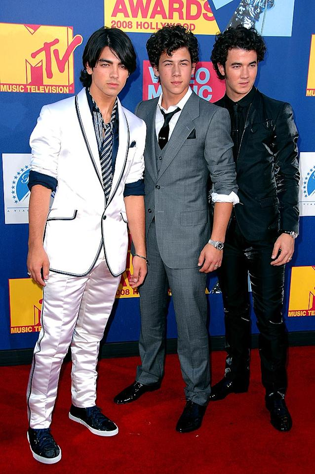 """Best: Joe, Nick, and Kevin Jonas managed to keep their typically chaotic looks under control in stylish suits. Steve Granitz/<a href=""""http://www.wireimage.com"""" target=""""new"""">WireImage.com</a> - September 7, 2008"""