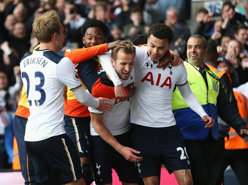 Harry Kane and Dele Alli celebrate together: Getty