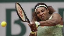 United States Serena Williams plays a return to United States's Danielle Collins during their third round match on day 6, of the French Open tennis tournament at Roland Garros in Paris, France, Friday, June 4, 2021. (AP Photo/Christophe Ena)