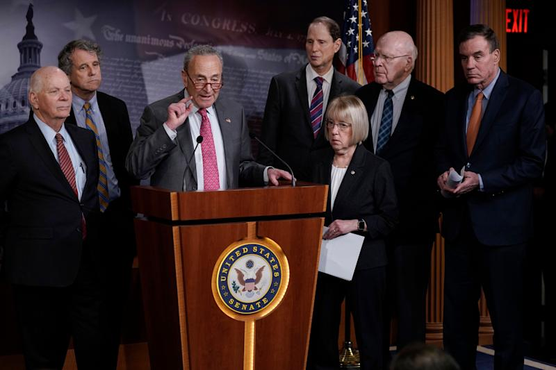 Senate Minority Leader Chuck Schumer (D-N.Y.) and fellow Democrats hold a news conference March 11 to discuss emergency paid sick leave to assist people whose jobs are affected by the coronavirus outbreak. (Photo: J. Scott Applewhite/ASSOCIATED PRESS)