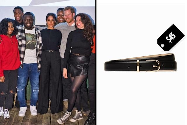 "<p>Meghan Markle wears Aritzia's Babaton Amos dress belt to complete her monochromatic look on a Jan. 9 visit to a radio station in London with Prince Harry. (Photo: Twitter/ReprezentRadio; Courtesy of Aritzia)<br>Shop: Aritzia Babaton Amos dress belt, $45, <a href=""https://us.aritzia.com/product/amos-dress-belt/55605.html?dwvar_55605_color=1461"" rel=""nofollow noopener"" target=""_blank"" data-ylk=""slk:aritzia.com"" class=""link rapid-noclick-resp"">aritzia.com </a> </p>"