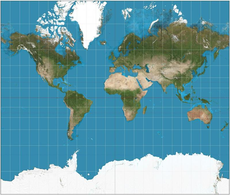 A traditional Mercator projection map of the world, showing distortions the further away from the equator (Strebe)