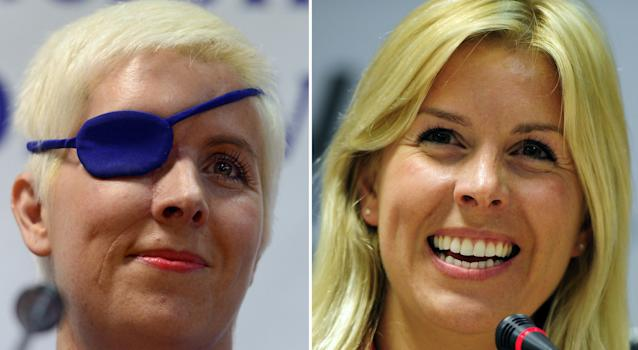 This combo picture made on October 11, 2012 shows former formula one Marussia test driver Spanish Maria de Villota (R) giving a press conference in Madrid on March 9, 2012 and Villota (L) giving another press conference in Madrid on October 11, 2012 on her first appearance since her accident. De Villota, 32, lost her right eye and suffered severe head injuries after crashing while conducting a straight line test at an airfield base in Cambridgeshire, on July 3, 2012. AFP PHOTO / JAVIER SORIANOJAVIER SORIANO/AFP/GettyImages