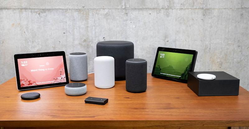 SEATTLE, WA - SEPTEMBER 20: An assortment of newly launched devices, including, an 'Echo Input,' 'Echo Show, 'Echo Plus,' 'Echo Sub,' 'Echo Auto' and 'Firetv Recast' are pictured at Amazon Headquarters, follownig a launch event, on September 20, 2018 in Seattle Washington. Amazon launched more than 70 Alexa-enable products during the event. (Photo by Stephen Brashear/Getty Images)