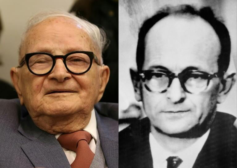 This combination of pictures created on March 23, 2019 shows a file photo taken on January 27, 2016 of former Israeli Mossad spy Rafi Eitan (L) and a file picture of Nazi war criminal Adolf Eichmann taken on December 12, 1961