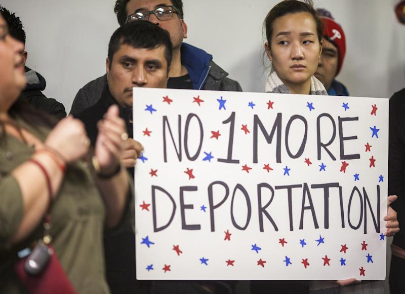 Latino workers protested against Immigrations and Customs Enforcement deportations: Getty