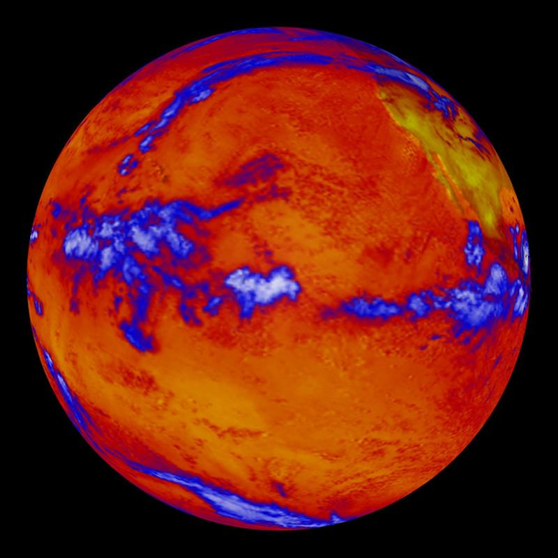This image from NASA's Clouds and the Earth's Radiant Energy System instrument on the Terra satellite, obtained on October 6, 2014, shows heat radiating from the Pacific Ocean