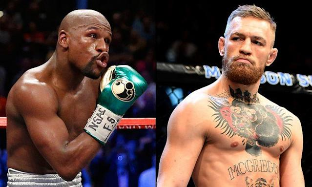 "<a href=""https://sports.yahoo.com/ufc-enters-talks-floyd-mayweather-vs-conor-mcgregor-223623521--mma.html"" data-ylk=""slk:Floyd Mayweather (L) and Conor McGregor"" class=""link rapid-noclick-resp"">Floyd Mayweather (L) and Conor McGregor</a> appear to be edging closer to a superfight in the ring. (Getty)"
