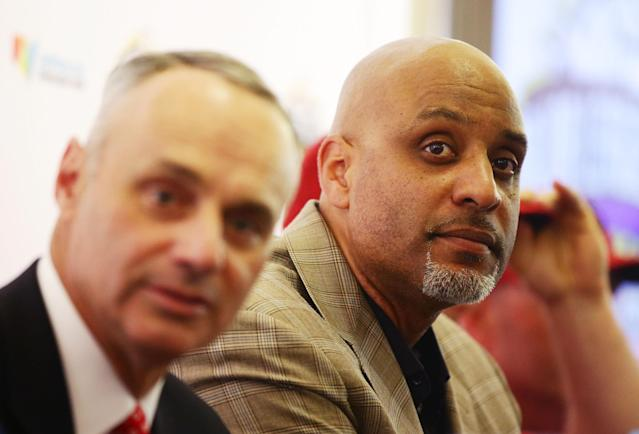 Among Rob Manfred's greater prides is that the game has not taken a day off due to labor trials in a 20-year watch. Tony Clark is new to the landscape but not new to the game. (Getty Images)