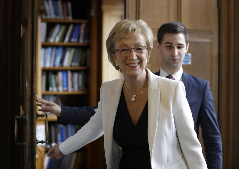 Conservative Party leadership contender Andrea Leadsom arrives to launch her campaign, in London, Tuesday June 11, 2019. The Conservatives are holding an election to replace Prime Minister Theresa May, who resigned as party leader last week after failing to lead Britain out of the European Union on schedule. (AP Photo/Kirsty Wigglesworth)