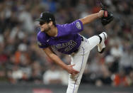 Colorado Rockies starting pitcher Peter Lambert works against the San Francisco Giants in the fourth inning of a baseball game Friday, Sept. 24, 2021, in Denver. (AP Photo/David Zalubowski)