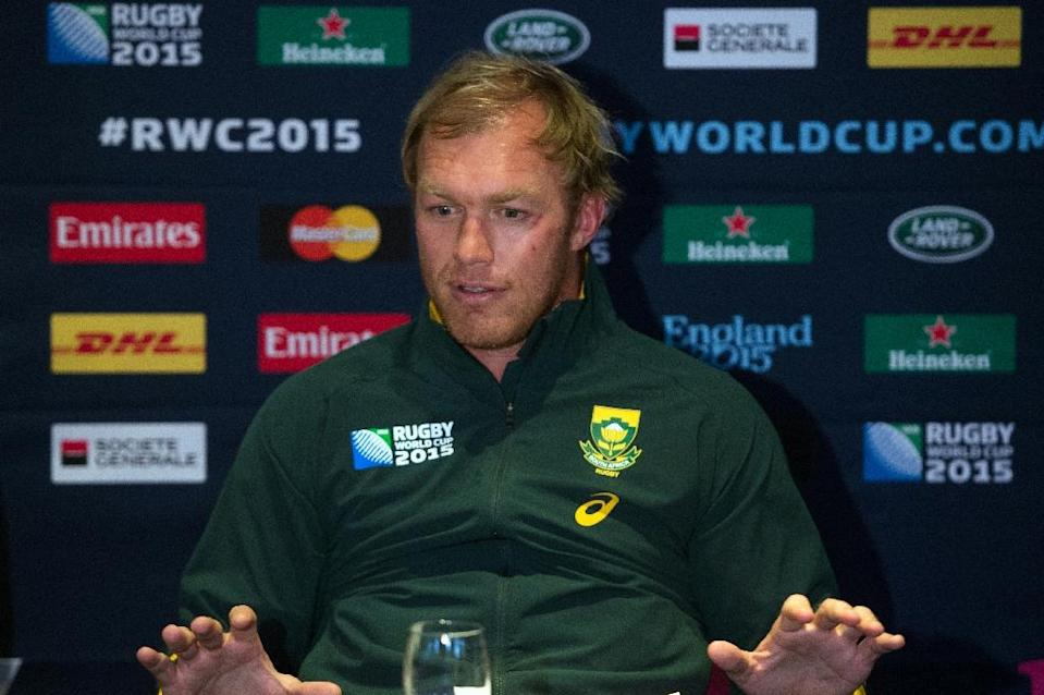 South Africa's Schalk Burger gives a press conference in Birmingham on September 20, 2015 during the 2015 Rugby Union World Cup (AFP Photo/Bertrand Langlois)