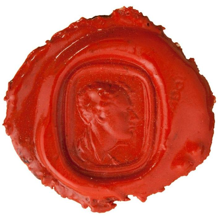 A wax impression on paper of Lord Byron (1788-1824) made by an intaglio ring - © National Portrait Gallery, London