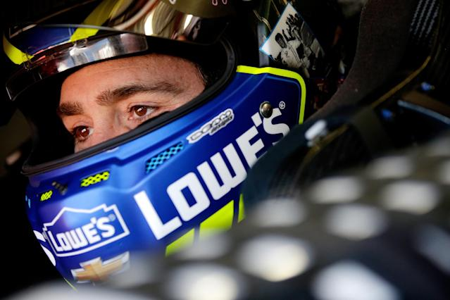 Jimmie Johnson, driver of the #48 Lowe's Chevrolet, sits in his car during practice for the Monster Energy NASCAR Cup Series FireKeepers Casino 400 at Michigan International Speedway on June 16, 2017 in Brooklyn, Michigan. (Photo by Chris Trotman/Getty Images)