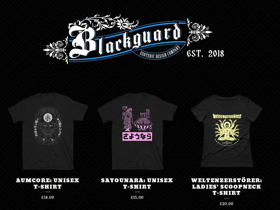 The Blackguard online shop run by National Action co-founder Ben Raymond (screengrab)