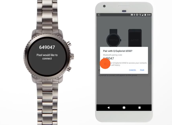 Connected watch right next to a smartphone showing the connection.
