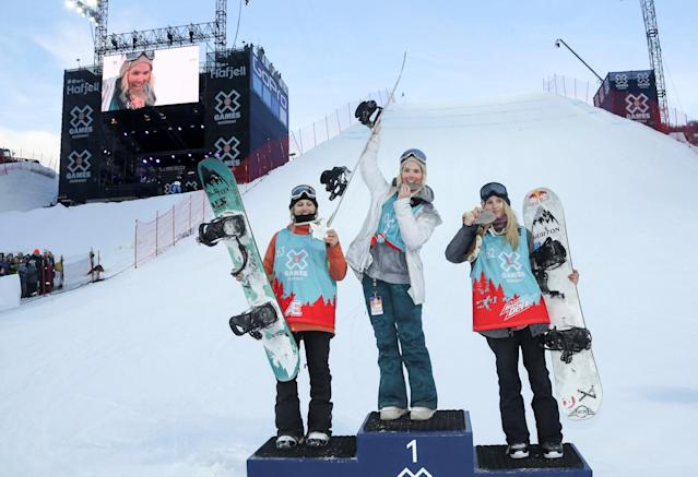 Snowboarding - X Games Women's Big Air Snowboard finals, Hafjell, Norway - 11/03/17 - Winner Silje Norendal (NOR, center), Julia Marino (USA left) silver and Anna Gasser (AUT) bronze. NTB Scanpix/Geir Olsen/via REUTERS ATTENTION EDITORS - THIS IMAGE WAS PROVIDED BY A THIRD PARTY. FOR EDITORIAL USE ONLY. NORWAY OUT. NO COMMERCIAL OR EDITORIAL SALES IN NORWAY. NO COMMERCIAL SALES.