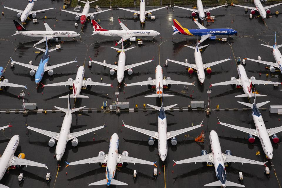 SEATTLE, WA - NOVEMBER 18: Boeing 737 Max airplanes sit parked at the company's production facility on November 18, 2020 in Renton, Washington. The U.S. Federal Aviation Administration (FAA) today cleared the Max for flight after 20 months of grounding. The 737 Max has been grounded worldwide since March 2019 after two deadly crashes in Indonesia and Ethiopia.  (Photo by David Ryder/Getty Images)