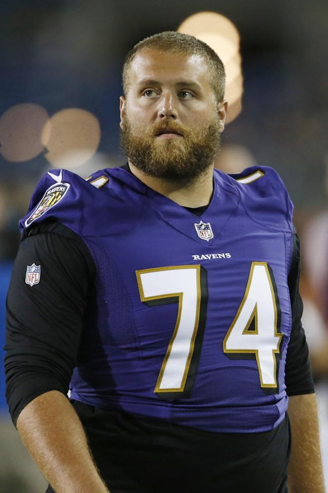 Baltimore Ravens offensive tackle James Hurst is shown after the game at the Pro Football Hall of Fame NFL preseason game against the Chicago Bears, Thursday, Aug. 2, 2018, in Canton, Ohio. (AP Photo/Ron Schwane)