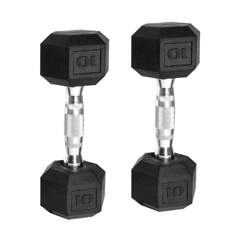 """<p><strong>CAP Barbell</strong></p><p>walmart.com</p><p><strong>$57.65</strong></p><p><a href=""""https://go.redirectingat.com?id=74968X1596630&url=https%3A%2F%2Fwww.walmart.com%2Fip%2F43330082&sref=https%3A%2F%2Fwww.prevention.com%2Ffitness%2Fworkout-clothes-gear%2Fg36230823%2Fbest-dumbbells%2F"""" rel=""""nofollow noopener"""" target=""""_blank"""" data-ylk=""""slk:Shop Now"""" class=""""link rapid-noclick-resp"""">Shop Now</a></p><p>Gomih and Rama recommend rubber-and-metal dumbbells for their powerful grip and floor-friendly design. This pair is <strong>one of the highest-rated options at Walmart</strong>, where buyers especially love their balance of performance and affordability. """"This is by far the best deal I found,"""" one shopper explains. """"They are everything you'd expect and look just like the pictures.""""</p>"""