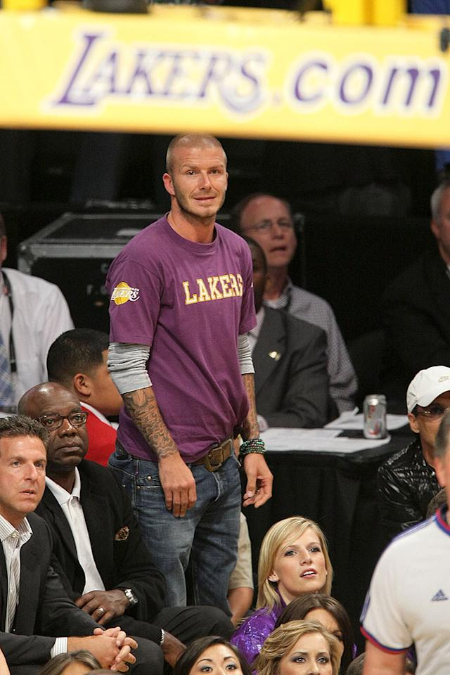 """David Beckham attends Game 3 of the 2008 NBA Finals between the Boston Celtics and the Los Angeles Lakers. Noel Vasquez/<a href=""""http://www.gettyimages.com/"""" target=""""new"""">GettyImages.com</a> - June 10, 2008"""