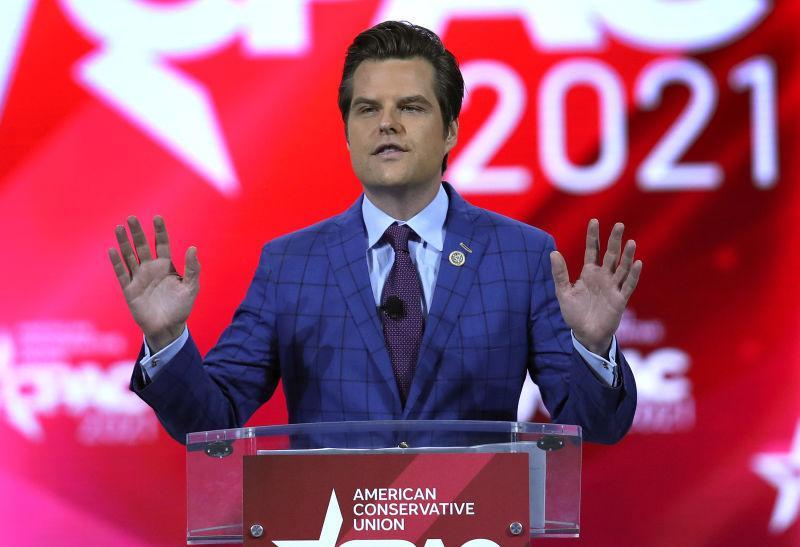 Rep. Matt Gaetz (R-FL) addresses the Conservative Political Action Conference being held in the Hyatt Regency on February 26, 2021 in Orlando, Florida. Begun in 1974, CPAC brings together conservative organizations, activists, and world leaders to discuss issues important to them.