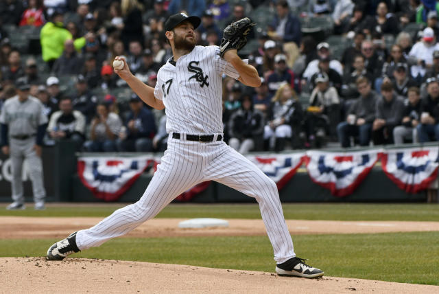 Chicago White Sox 's starting pitcher Lucas Giolito (27) delivers against the Seattle Mariners during the first inning of a baseball game in Chicago on Saturday, April 6, 2019. (AP Photo/Matt Marton)