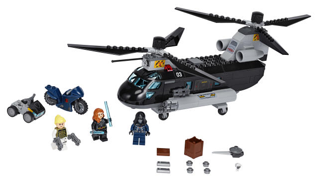Recreate the <em>Black Widow</em> action with Black Widow's Helicopter Chase LEGO® set. (Photo: The Lego Group)