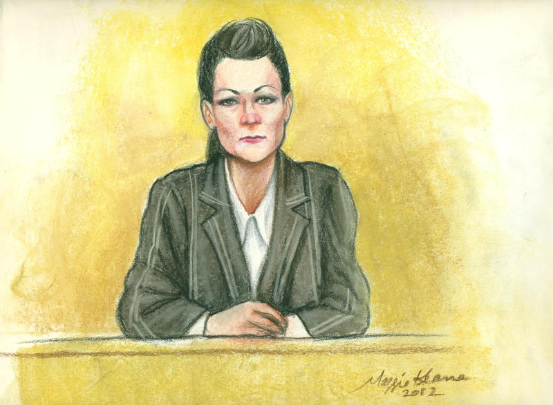 "FILE - In a file photo of a courtroom sketch, a government informant, identified in court records as Rebecca Williams, testifies Wednesday, Jan. 25, 2012, in Phoenix in the trial of two white supremacist brothers charged with bombing a black city official in Scottsdale, Ariz. Williams, dubbed a ""trailer park Mata Hari"" by defense attorneys, spent about five years talking with identical twins Dennis and Daniel Mahon, surreptitiously recording their conversations and getting them to open up about the plot with a series of provocative acts. A federal judge is scheduled Tuesday to sentence 61-year-old Dennis Mahon for his conviction in the 2004 bombing. (AP Photo/Maggie Keane/file)"