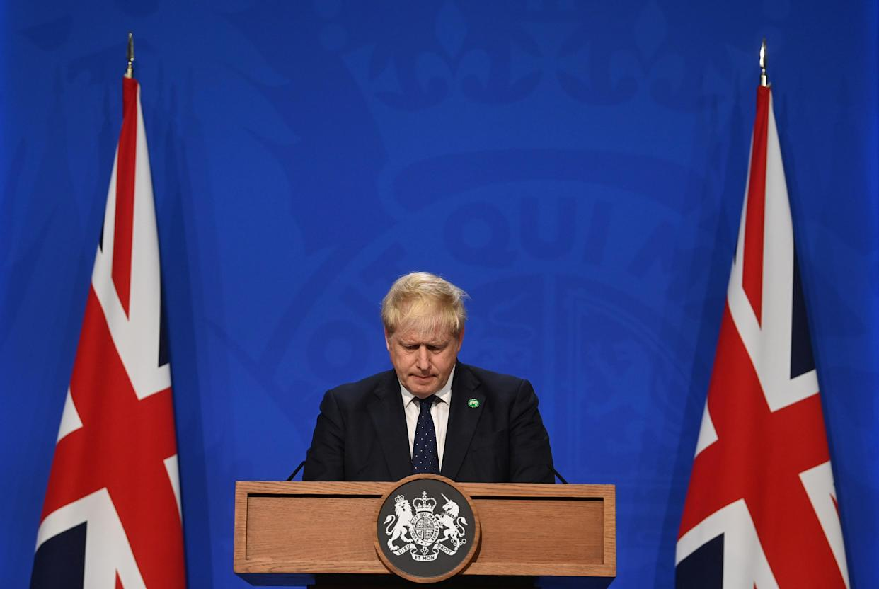 Prime Minister Boris Johnson, during a media briefing in Downing Street, London, on the long-awaited plan to fix the broken social care system. Picture date: Tuesday September 7, 2021.