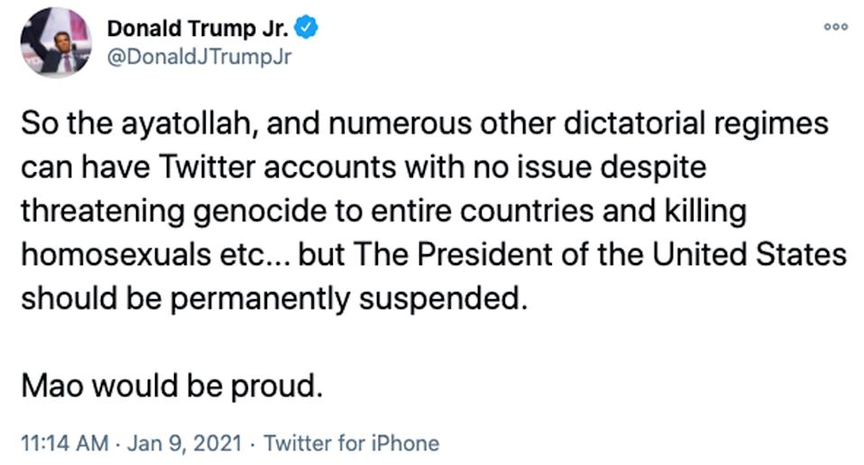 Donald Trump Jr. took to Twitter shortly after the platform banned @realDonaldTrump