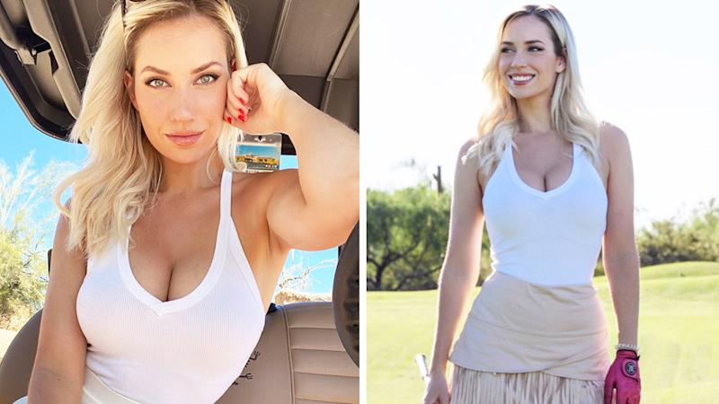 Paige Spiranac (pictured left) posing in a golf cart and (pictured right) on the golf course.
