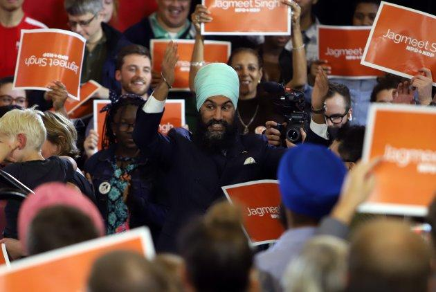 NDP Leader Jagmeet Singh is greeted by supporters as he kicks off his first cross-country tour at a rally in Ottawa on Sunday.