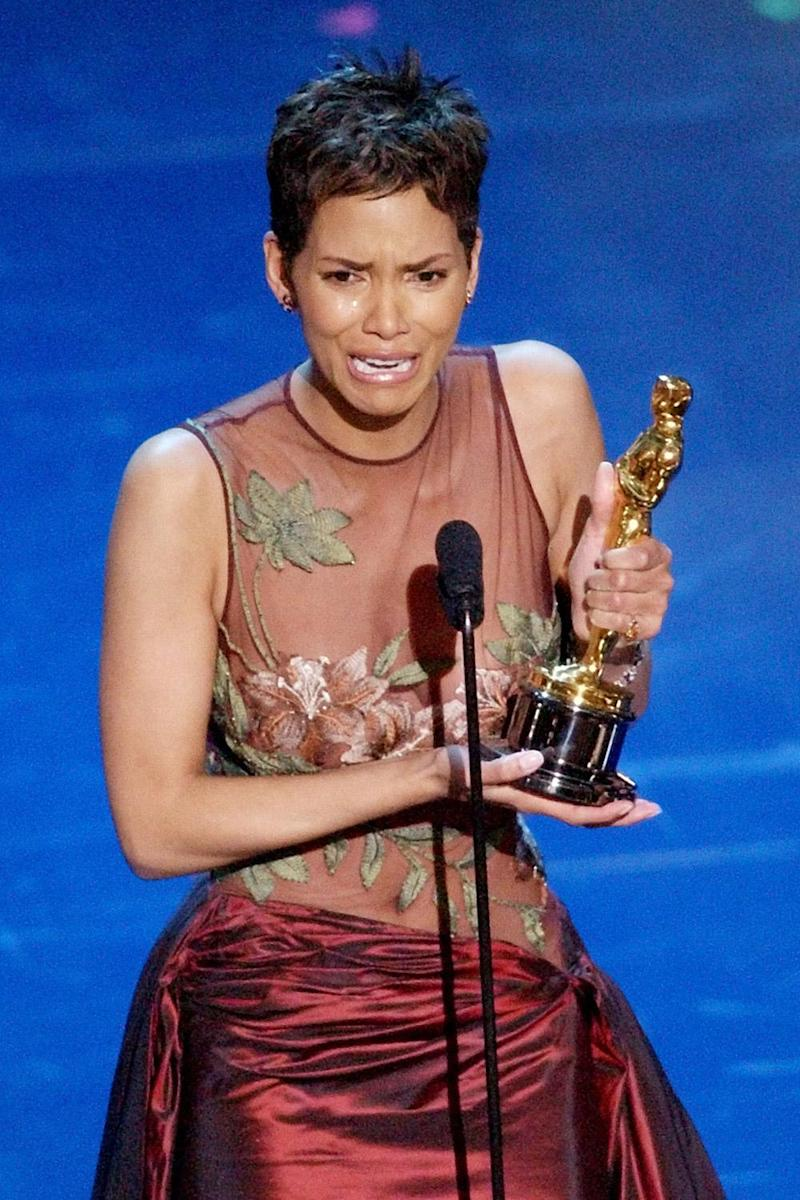 Tearful: Berry dedicated her win to other black actresses (AP)
