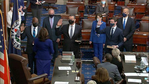PHOTO: In this image from video, Vice President Kamala Harris swears in Sen. Raphael Warnock, D-Ga., Sen. Alex Padilla, D-Calif., and Sen. Jon Ossoff, D-Ga., on the floor of the Senate Wednesday, Jan. 6, 2021, on Capitol Hill in Washington. (Senate Television via AP)