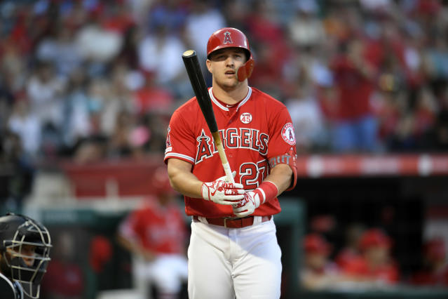"""<a class=""""link rapid-noclick-resp"""" href=""""/mlb/players/8861/"""" data-ylk=""""slk:Mike Trout"""">Mike Trout</a> is among the fantasy studs who also have great plate discipline. (Photo by John McCoy/Getty Images)"""
