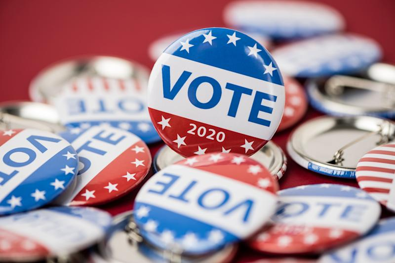 Vote election badge button for 2020 background, vote USA 2020