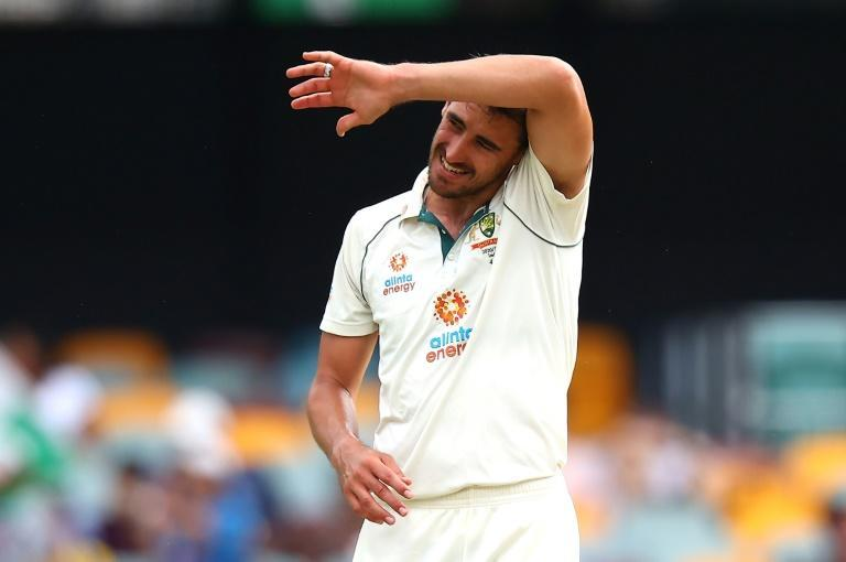 Under fire: Australia's paceman Mitchell Starc, who bowled 16 expensive overs without taking a wicket on the final day in Brisbane