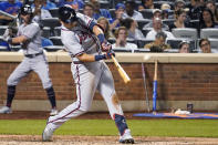 Atlanta Braves' Austin Riley hits a two-run home run during the sixth inning of the team's baseball game against the New York Mets, Tuesday, July 27, 2021, in New York. (AP Photo/Mary Altaffer)