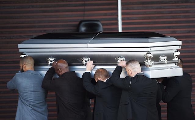 The coffin of Dalian Atkinson is carried into Telford Crematorium Chapel for the funeral of the former Aston Villa footballer who died after being Tasered by police. (Photo by Joe Giddens/PA Images via Getty Images)