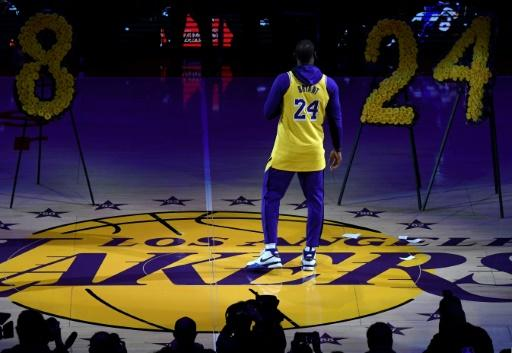 LeBron James speaks during the Los Angeles Lakers ceremony to honor Kobe Bryant before their NBA game against the Portland Trail Blazers